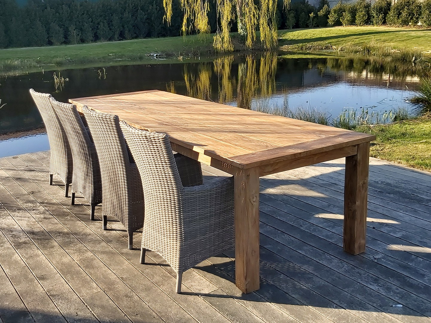 set Kloostertafel 3x1, recyclage teak - Set Salou