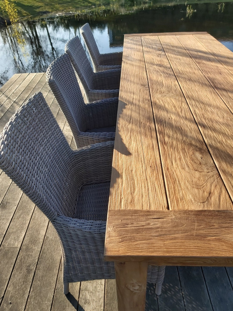 set Kloostertafel 3x1, recyclage teak - Set Salou Detail