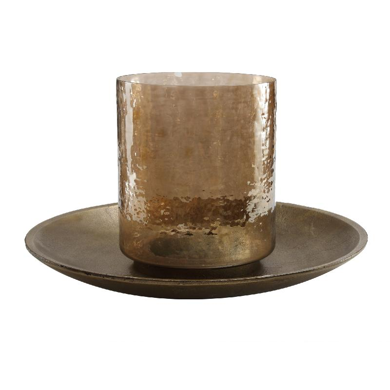 Jazzy Brass Alu Candleplate with Glass Stormlight