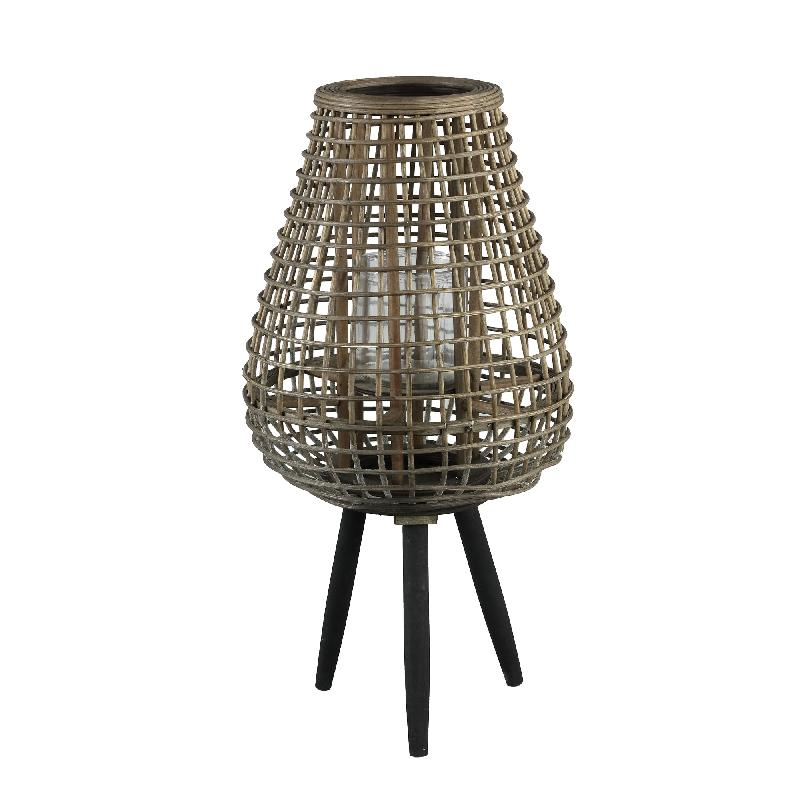 Abell Natural Bamboo Lantern Wooden Feet Round M