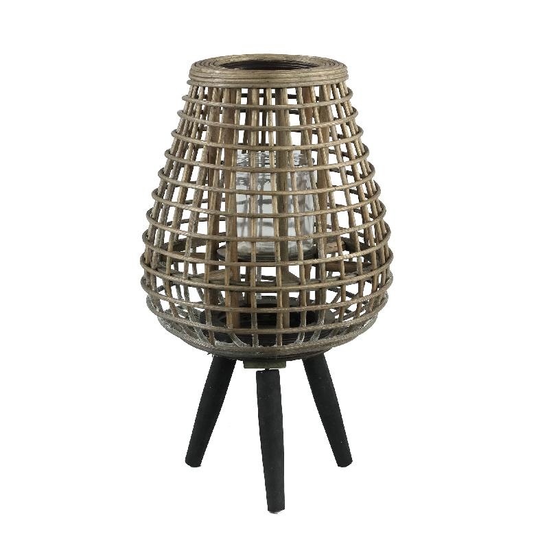 Abell Natural Bamboo Lantern Wooden Feet Round S