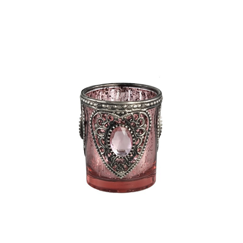 Frances Glass Pink Tealight Antique Heart Round