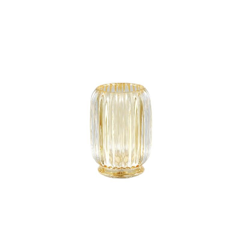 Binx Glass Yellow Tealight Round Ribbed High