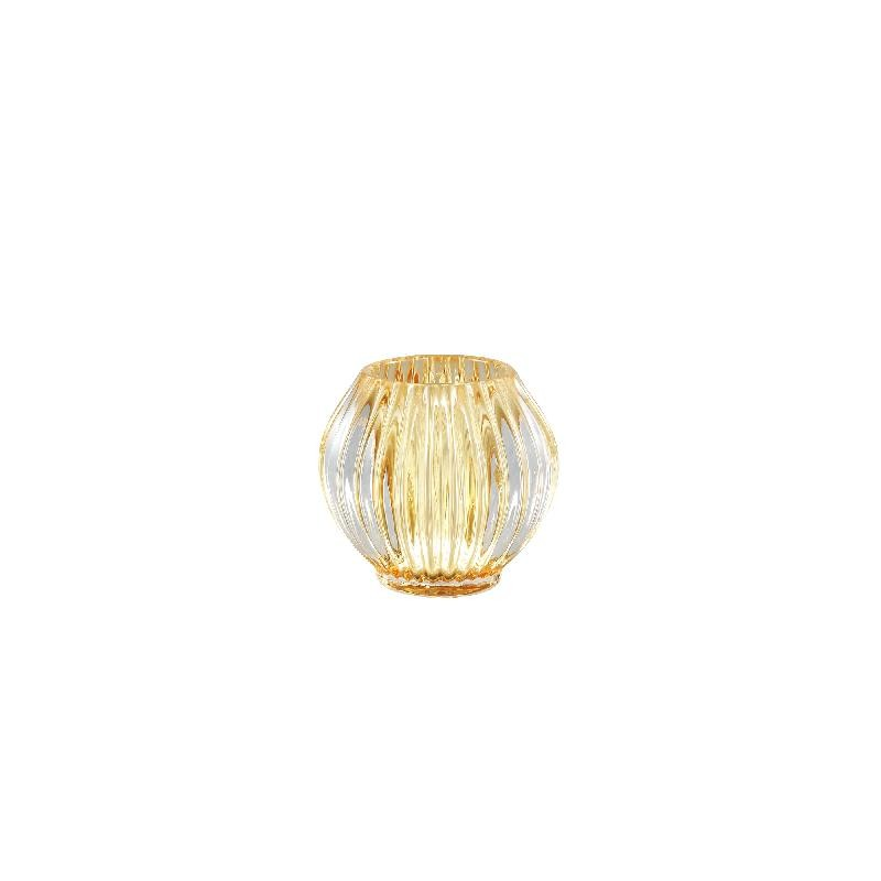 Binx Glass Yellow Tealight Round Ribbed