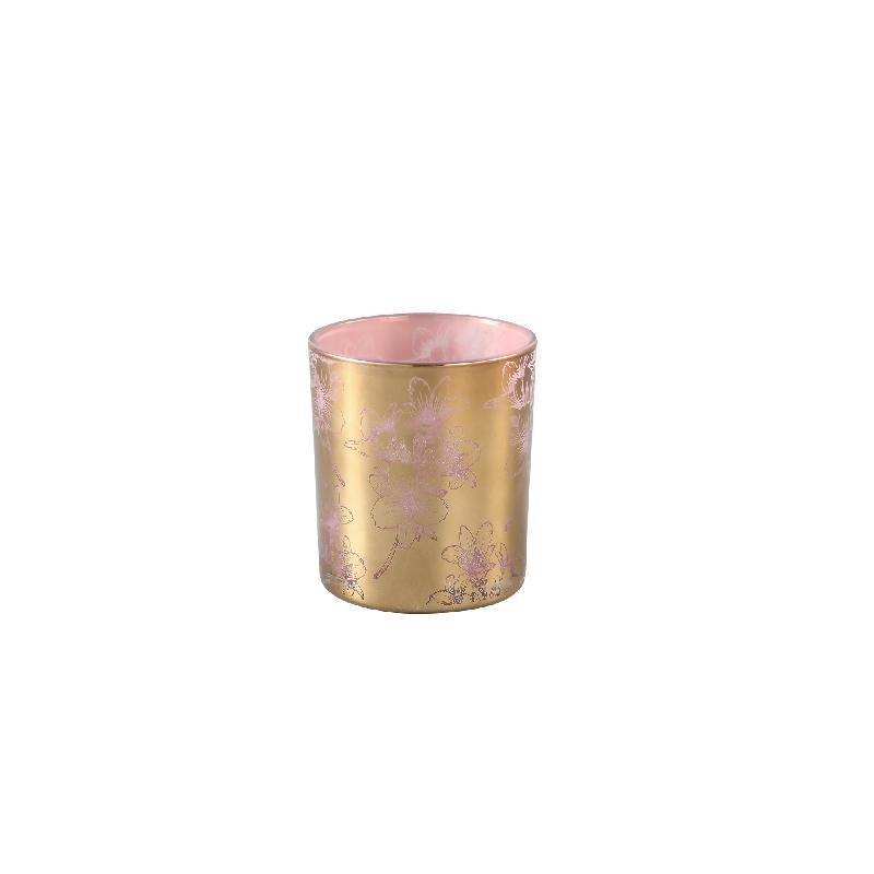 Melody Gold Glass Tealight Pink Inside Flowers L