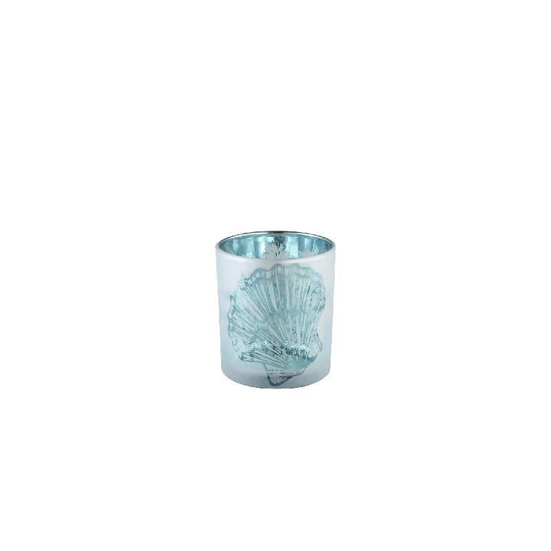 Seas Blue Glass Tealight White Outside Shell M