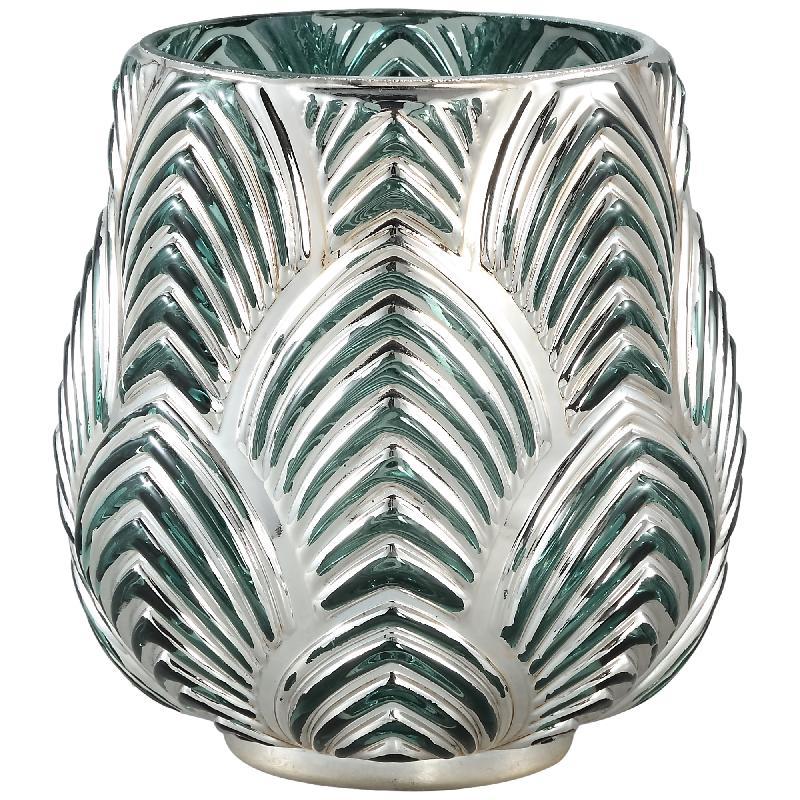 Dano Silver Glass Stormlight Votive Bombey Round L