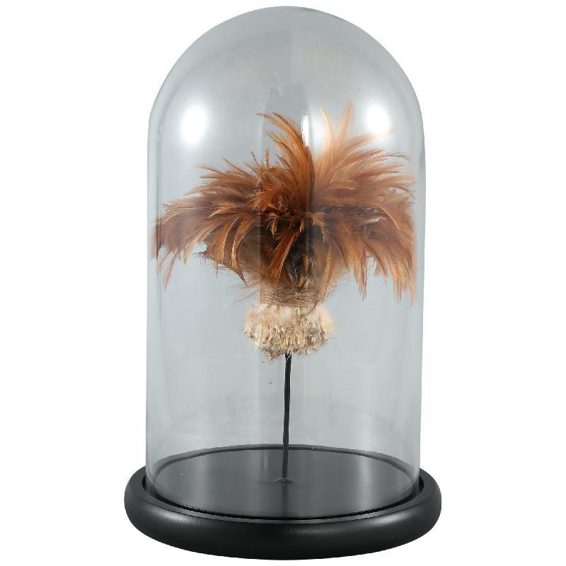 Zepp Clear Glass Bell Jar Gold Feather L
