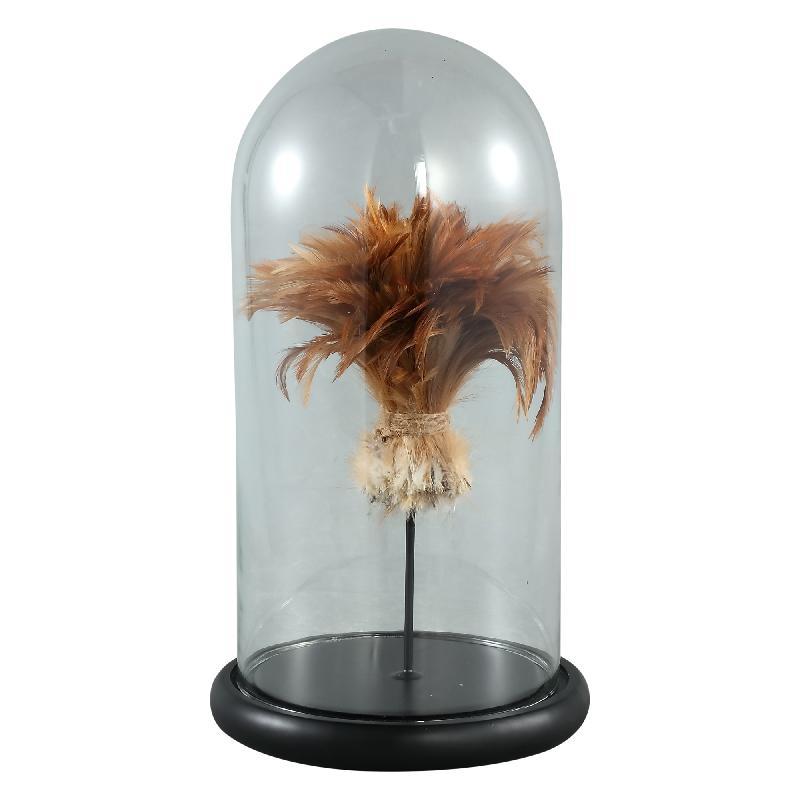 Zepp Clear Glass Bell Jar Gold Feather M