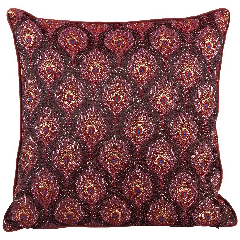 Bono Fabric Red Cushion Peacock Print Square