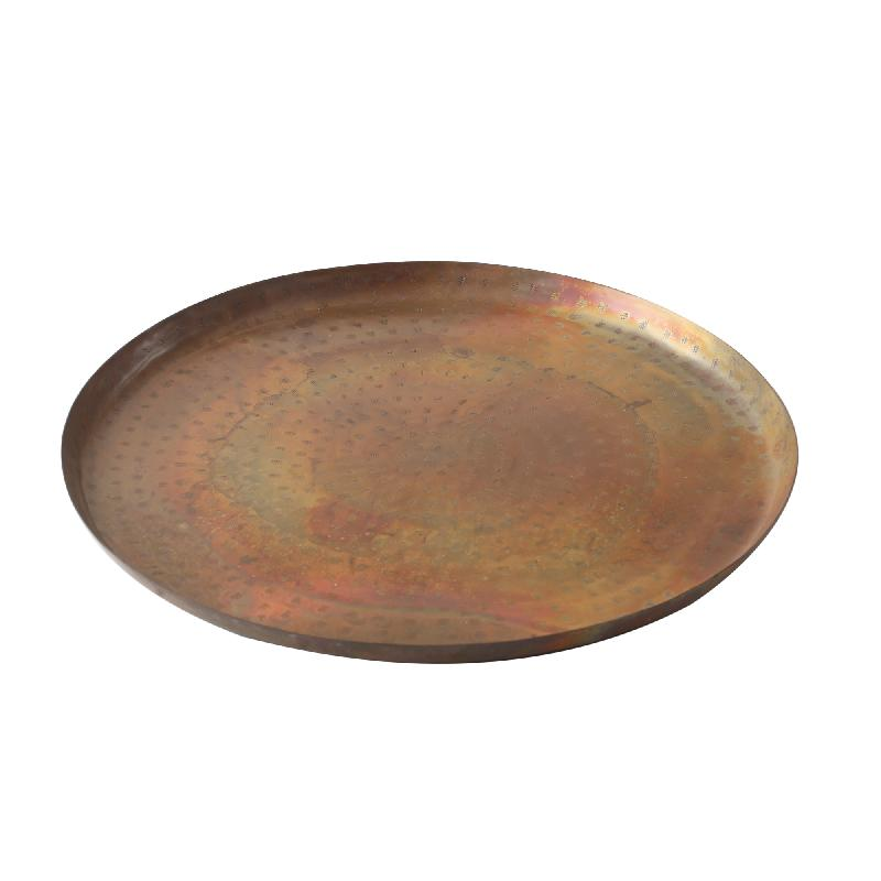 Iron Copper Flat Tray With Votive Round S