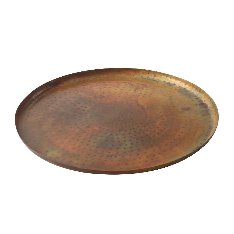 Iron Copper Flat Tray With Votive Round M
