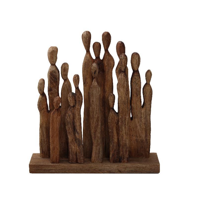 Ethnic Wood Mango Group Figure Statue