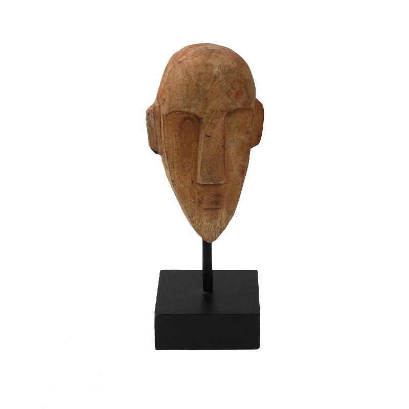 Ethnic Wood Mango Mask Statue S