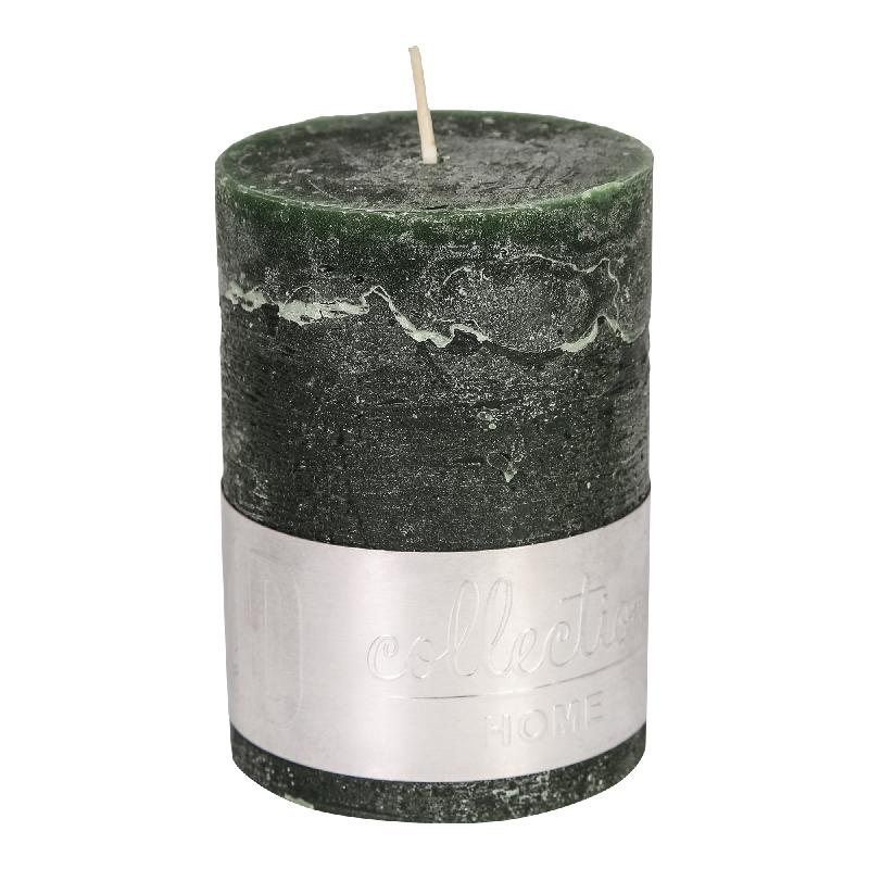 Rustic Dark Green Pillar Candle