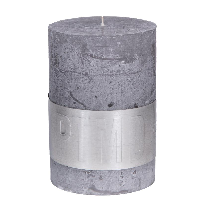 Rustic Suede Grey Pillar Candle