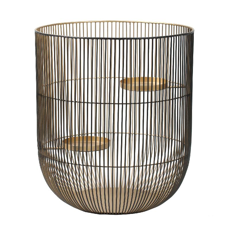 Caged Light Black Gold Round Stormlight L