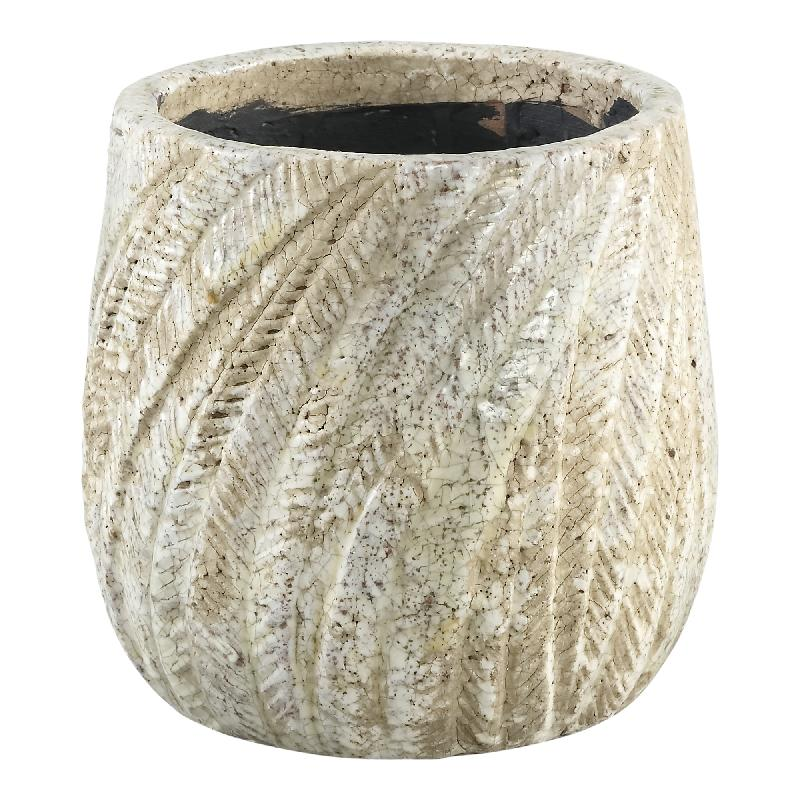 Vita Cream Ceramic Palm Pot Round S
