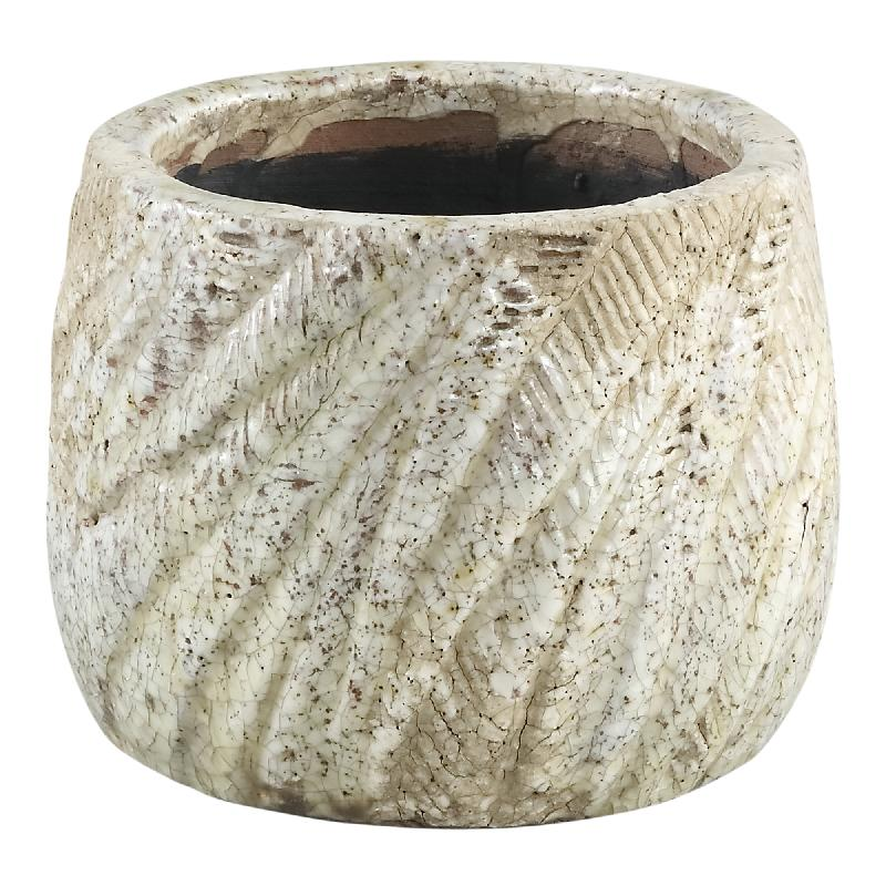 Vita Cream Ceramic Palm Pot Round XS