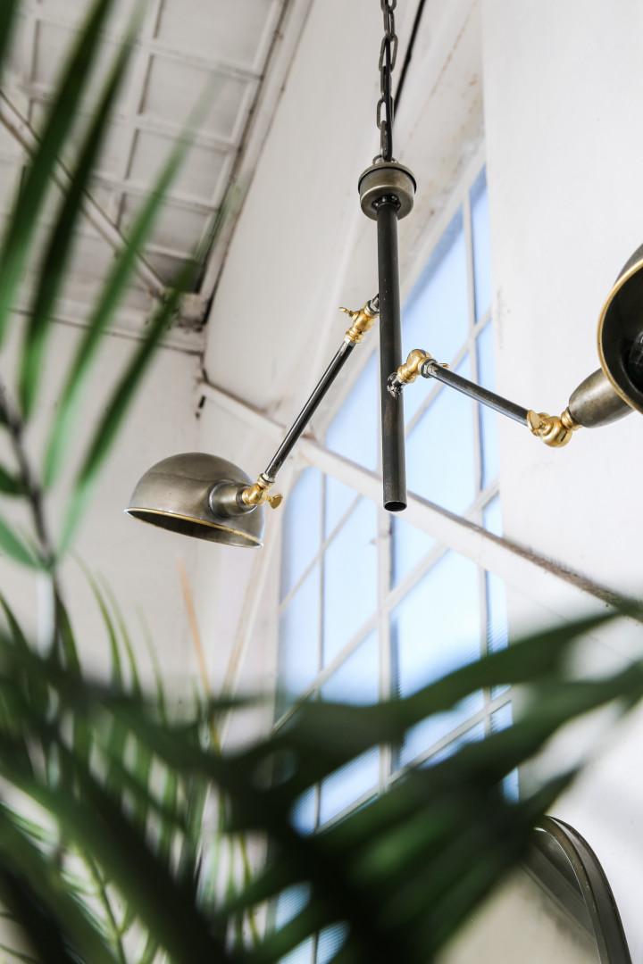 Asher Brass Metal 2 Hanging Lamps Rectangle