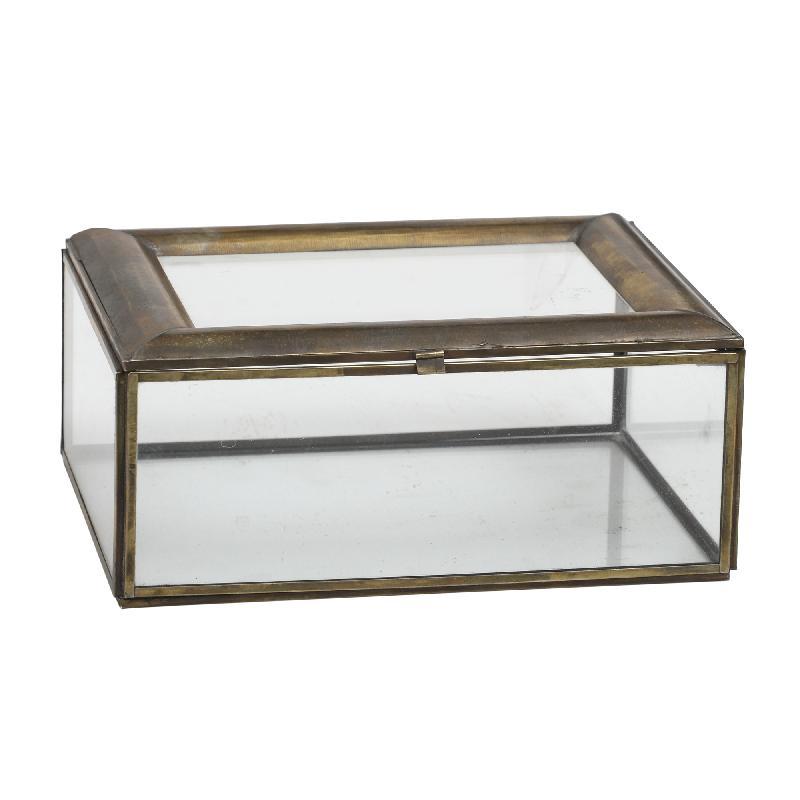 Paloma Iron Brass Glass Box Rectangle L
