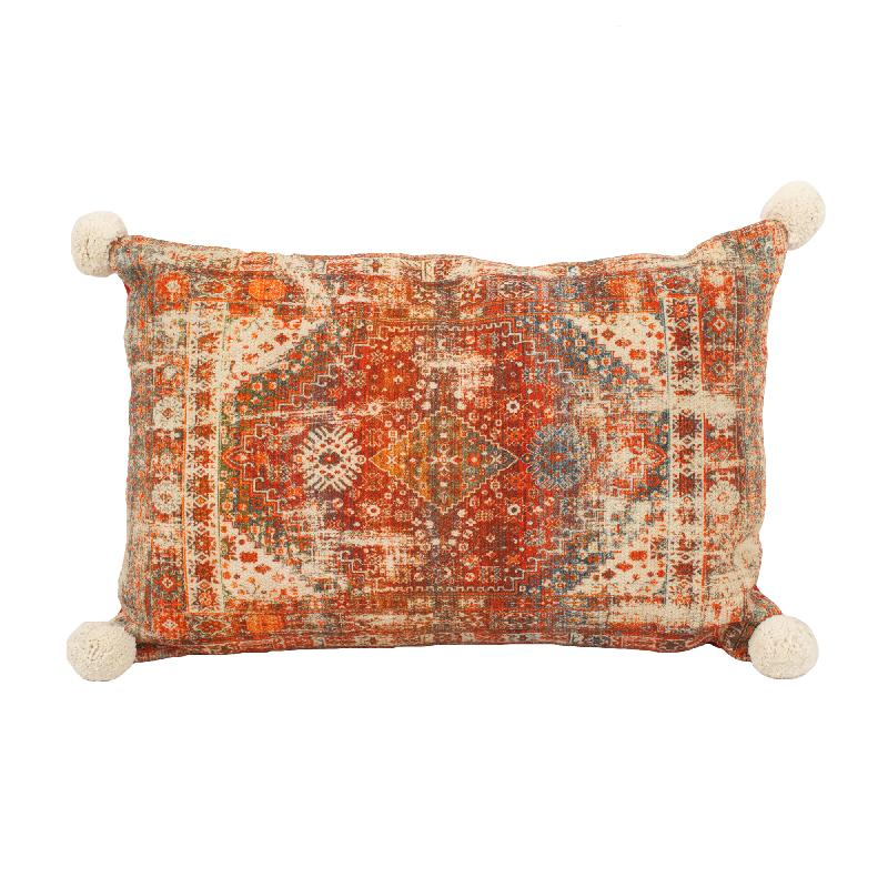 Indian Print Pillow Rectangle Red Cotton