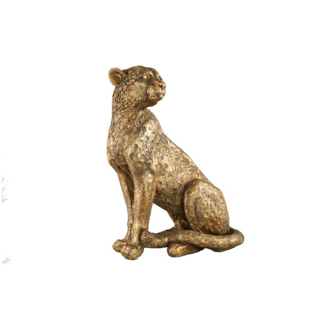 Leopard Gold Poly Sitting Leopart Satue