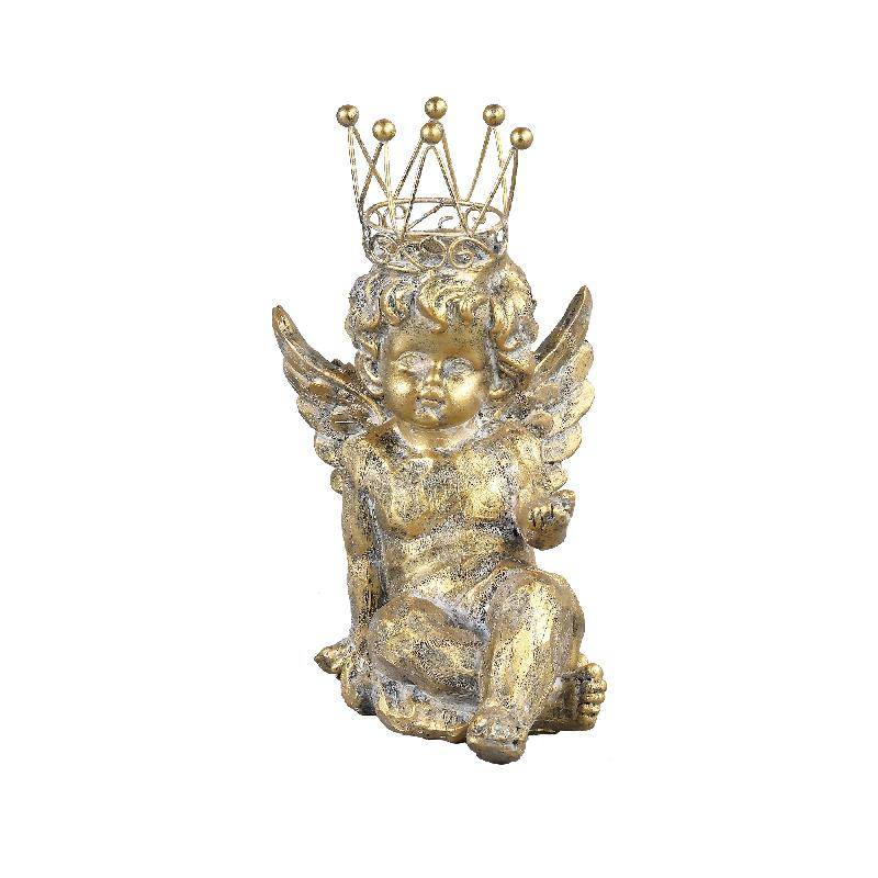 Engel Vital gold resin laying with crown statue