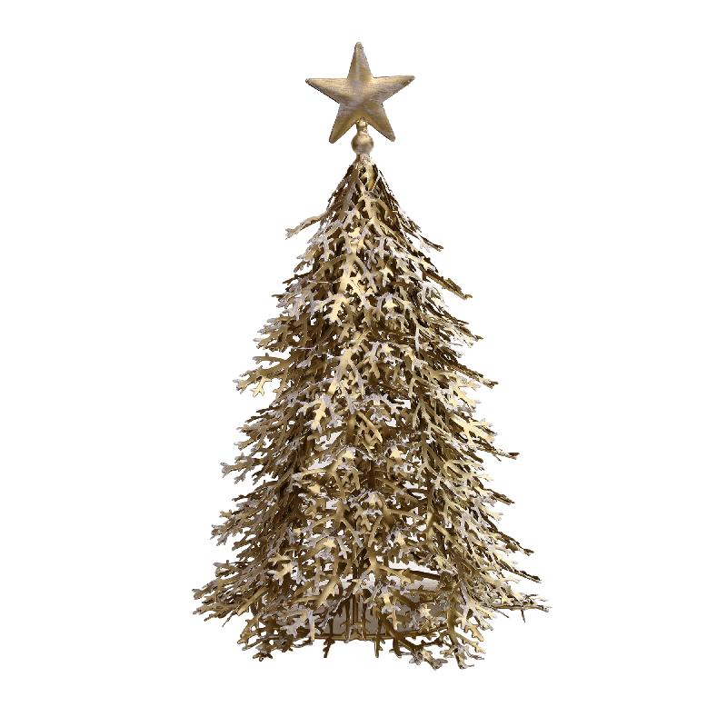 Kerstboom Tulsa iron gold wash star topper S/M