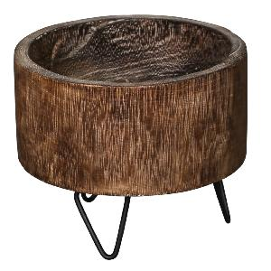 Schaal Paloma wood brown pot on metal leg Round L
