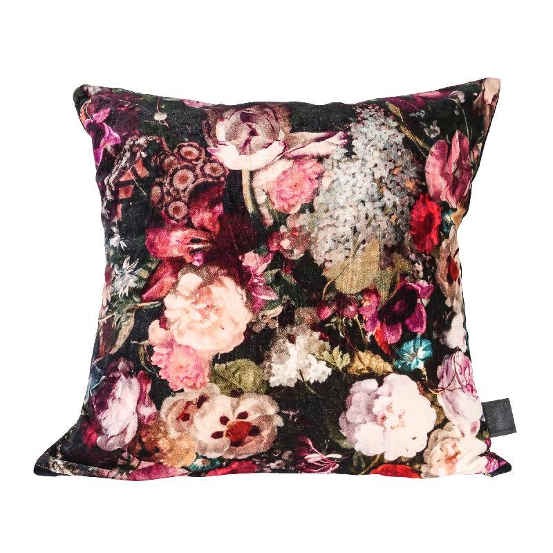 Vajen Pink Velvet/cotton Cushion Bloem Print