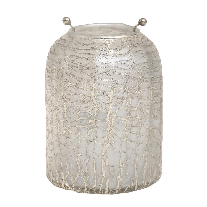 Theelicht Mylie White Glass round crackle L