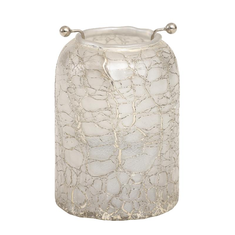 Theelicht Mylie White Glass round crackle S