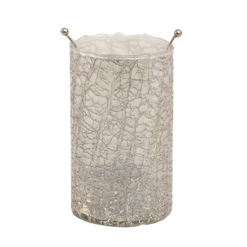 Theelicht Mylie White Glass round crackle B Large