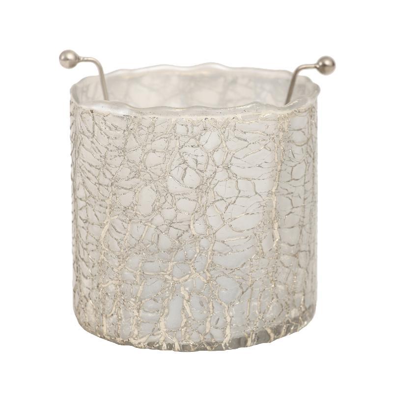 Theelicht Mylie White Glass round crackle B Small