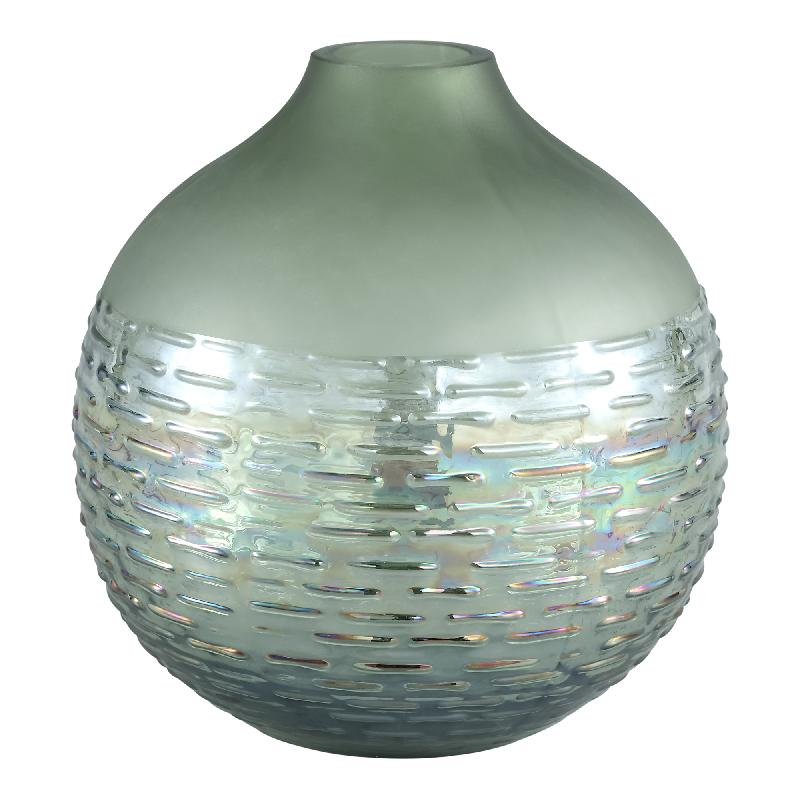 Kyara green matt/luster Glass ribbed Vase Round L