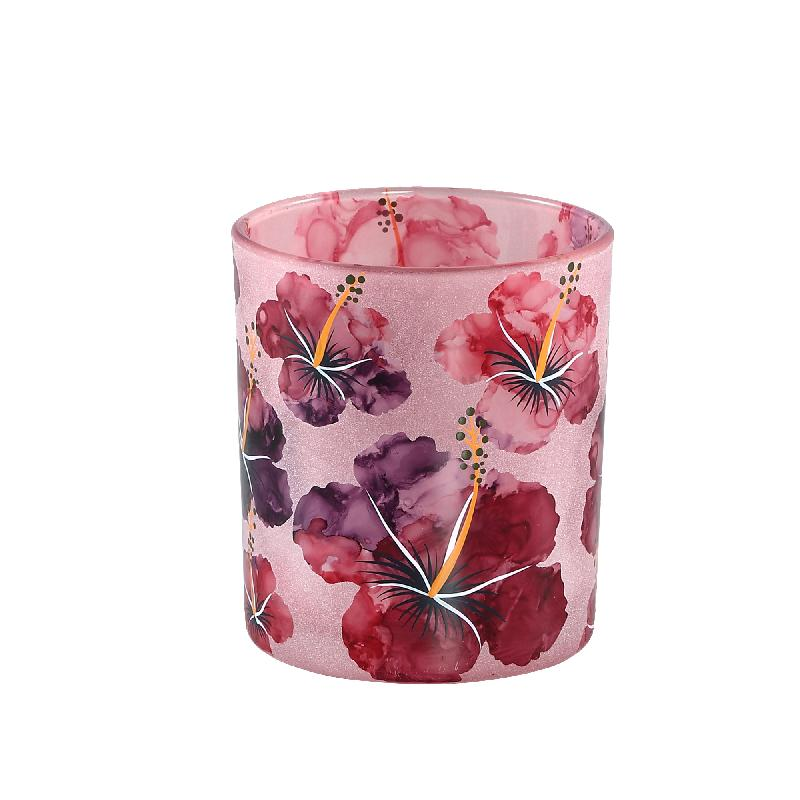 Denise Pink Glass tealight hibiscus flowers S