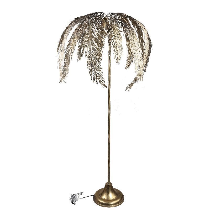 Cute Gold iron floor lamp palm tree long