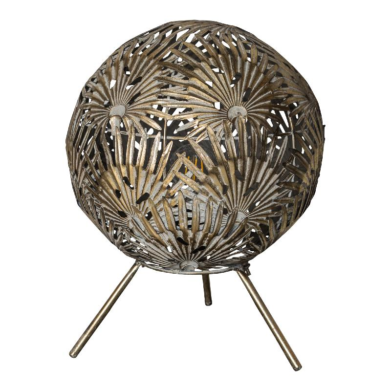 Fallon Gold metal table lamp leaves ball