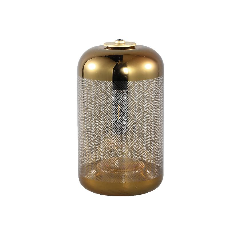 Lazaro Gold Glass LED table lamp round print A