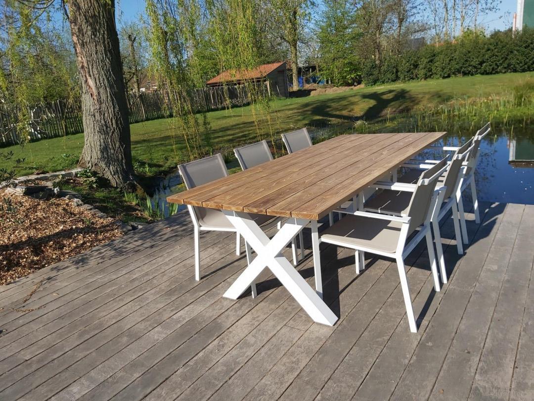 Tuinset 2m40, tafel met witte aluminium poot naar keuze