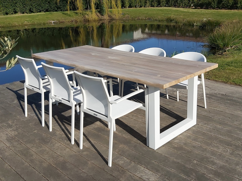 Set table de jardin avec bord de tronc d'arbre